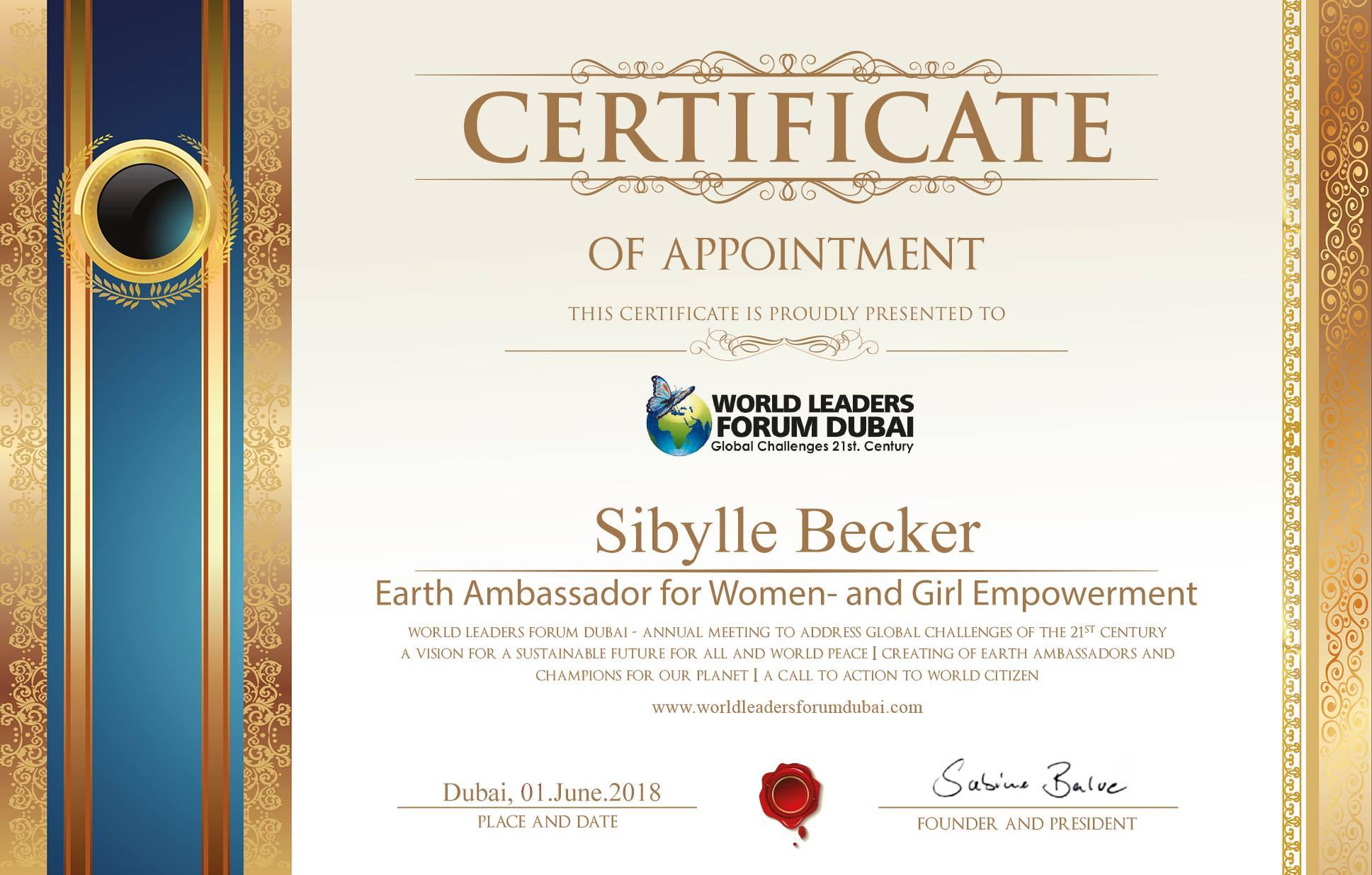 Sibylle_Becker_Earth_Ambassador_Award_World_Leaders_Forum_Dubai